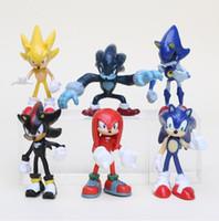 knuckles spiele großhandel-6 teile / satz Spiel Sonic the Hedgehog Tails Knuckles die Echidna Schatten der Hedgehog Super Sonic PVC abbildung modell spielzeug