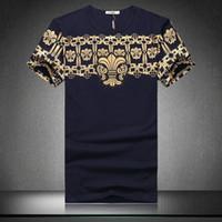 Wholesale Vintage Cotton Mens Shorts - Euro Vintage Print tshirt Men Short Sleeve Slim Fitness Mens t Shirts Fashion 2018 Summer Designer Brand Tee Shirts Plus Size