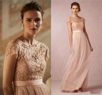 Wholesale Short Fairy Lights - Fairy Style Bohemian Prom Dresses Tulles Skirt Cap Sleeves Lace Top A Line Evening Gowns Formal Jewel Neck Pleats Arabic Party Gowns