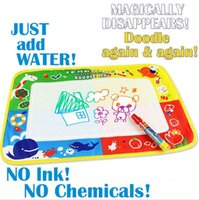 Wholesale aquadoodle drawing mat magic pen - Wholesale-46x30cm 4 color Water Drawing Toys Mat Aquadoodle Mat&1 Magic Pen Water Drawing board baby play mat