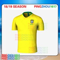 Wholesale Wholesale Dry Shirts - 2018 World Cup Brazil Soccer Jersey NEYMAR JR P.COUTINHO PELE MARCELO RONALDINHO DAVID LUIZ shirts 2017 2018 Brazil home Football Jerseys