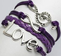 Wholesale Infinite Leather Bracelets - 7 styles handmade Infinite Music Symbole Love Charm Fashion Bracelet friendship leather bracelets for gift customs sports diy men and women