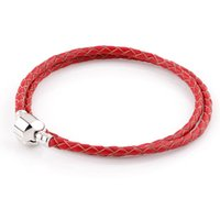 Wholesale Wholesale Leather Bracelets For Beads - Double Row Red Genuine Leather Summer Style Bracelet Chain Bracelets For Chamilia Charms DIY Metal Alloy Glass European Big Hole Beads