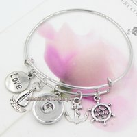 Wholesale Nautical Bracelets For Women - New Fashion DIY Interchangeable Jewelry Nautical Anchor Shipwheel Sailboat Expandable Wire Bangle DIY Snap Bracelets for Women Gift Jewelry