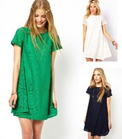 Wholesale Women New Base Skirt - 2015 Spring New Women Lace Floral Casual Short Dress A lined Loose Party Mini Dress Bottoming Base Skirt With Short Sleeves Hollow Out M203