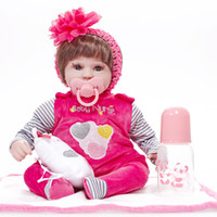Wholesale Realistic Girl Wig - Wholesale- 17 inch Soft Silicone Vinyl Simulated Reborn Baby Doll Brown Wig Girl Handmade Cotton Body Lifelike Realistic Babies Toys