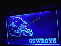 signe LD317-b Dallas Cowboys Helmet NR Bar Neon Light Sign boutique de décoration artisanat conduit