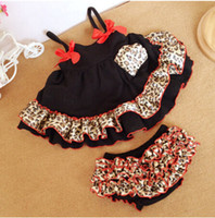 Wholesale Swing Dress Bloomers Set - Newborn Kids Clothes Cheetah Baby Swing Dress Cute Baby Bloomer Set Ruffle Swing Outfit With Satin Bow