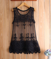Wholesale women black mesh tank top - Plus Size Hollow Lace Embroidery Sheer Floral Blouses & Shirts Women tank Mesh vest bottoming shirt Tops Tees Camis knit wear White Black