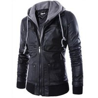 Wholesale Mens Leather Hoods - 2015 New brand men leather jacket mens hooded leather jacket with fur hood leather jacket zipper design Motorcycle Leisure coat FG1511