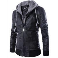 yeni erkek ceketli deri ceket toptan satış-2015 Yeni marka erkek deri ceket erkek kapşonlu deri ceket kürk kaput deri ceket ile fermuar tasarım Motosiklet Eğlence ceket FG1511