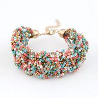 Wholesale Lucite Cuff Bracelet Vintage - 2015 Fashion Jewelry bracelet Bohemia Style Retro Bead Multicolor Charm Vintage Love Cuff Women Bracelets & Bangles