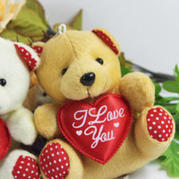 Wholesale Mini Heart Toy - Hot sale 11 cm mini plush bear toys with heart(cream, brown), cheap wholesale 50 pcs lot sutffed bear toys, free shipping