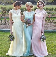 Wholesale Short Feather Prom Dress Cheap - Real Image 2015 Lace Bridesmaid Dresses A Line Jewel Neck Cap Sleeves Zip Back Soft Chiffon Cheap Prom Gowns Spring Party Dresses
