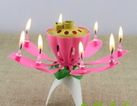 Wholesale Red Lotus - Beautiful Birthday Gift Flower Music Candle Flower Music Candle Lotus Music Candle New Lotus Music Candles Lotus Petal For Birthday party20