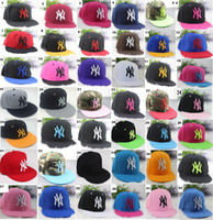 Wholesale Wholesalers Fitted Hats - 42 colors Yankees Hip Hop MLB Snapback Baseball Caps NY Hats MLB Unisex Sports New York Women casquette Men Casual headware
