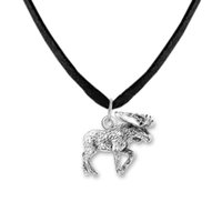 Wholesale Dear Necklace - Fitness Jewelry Zinc Alloy Antique Plated Floating Tibetan Elk David's Dear DIY Animal Charms Animal Chain&Rope Pendant Necklaces