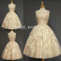 Wholesale Sexy Wears Free Shipping - Retro 2017 Vintage Csatle Wedding Dress Champagne Color Tea Length Lace Applique Women Wear Bridal Gown Free Shipping