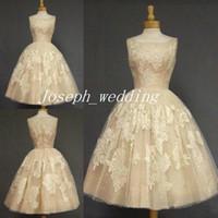 Wholesale Sexy Women Photos - Retro 2017 Vintage Csatle Wedding Dress Champagne Color Tea Length Lace Applique Women Wear Bridal Gown Free Shipping