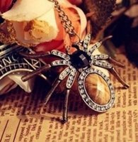 Wholesale Gothic Punk Fashion Accessories - Hot Sale Lady's Vintage Bronze Gothic Punk Fashion Jewellery Spider Rhinestone Necklace Charm Pendant Necklaces Jewellry Accessories Jewelry
