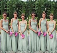 Reference Images perfect prom - Perfect Matching Styles Long Mint Chiffon Bridesmaid Dresses One Shoulder A line Floor Length Chiffon Bill Levkoff Wedding Party Prom Gown