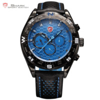 Wholesale Shark Wrist - car Leather Luxury Wrap Gift Shortfin Shark Blue Dial Relogio Calendar Men Quartz Wrap Men Sport Wrist Leather Watch  SH155+ZC156
