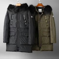 Wholesale Long Down Filled Jacket - 2017 winter mens new luxury mediun-long term tops 90% white goose down filled down jacket~hooded collar thick feather dress jacket parkas