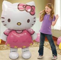 hello kitty doğum günü balonu toptan satış-100 adet / grup 116 * 65 cm folyo Alüminyum Hello Kitty Kedi balonlar karikatür doğum günü dekorasyon düğün parti şişme hava balonla ...
