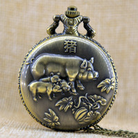 Wholesale Chinese Zodiac Pocket Watches - Bronze Vintage Chinese Zodiac Pig Large Quartz Luxury Pocket Watch Necklace Chain Pendant Mens-watches Gift A289