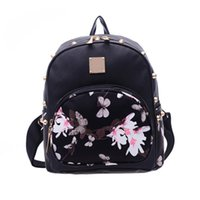 Wholesale School Satchels Book Bags - 2017 New Floral Printing Leather Women Backpack Mochila Girls School Bag Travel Cute Satchel Ladies Shoulder Book Bags Rucksack