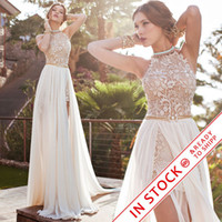 Wholesale Sash Waist Wedding Dress - 2017 Julie Vino lace wedding dresses A line chiffon summer beach high waist side slit lace halter backless hi lo bridal gowns BO5557