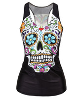 Wholesale Skull Print Shirts Women - Sexy Cool Punk Girl Digital Print Floral Sugar Skull Skeleton Devil Queen Slim Tank Tops Adventure Time Camisole Sleeveless T shirt 3D Vest