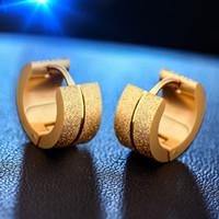 Wholesale Crystal Earring Hoop Steel - Earrings Hoop Punk Mens Women Crystal Stainless Steel Ear Hoop Earrings Round Drop Earrings Hanging 925 Sterling Silver Hoop Earrings
