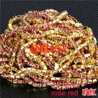 Wholesale Base Claws - jewelry components claw chains cup ss8.5 close sew glass crystal gold base rose red brass clothes woman wedding dress 2.5mm 5pcs