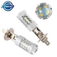 12v helle led-scheinwerfer großhandel-LYMOYO 2pcs H1 führte Auto-Nebel-Licht mit Cree-Chips 16 smd Super Bright 60w 6500k Weiß-Fahrscheinwerfer Tag Running Light 12v