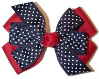 "Wholesale Pinwheel Bows - 4"" Red Navy white Dot grosgrain Double Layered pinwheel girl hair Bows hairbow headwear headdress Clip 12pcs"