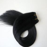 ingrosso tessuto per capelli neri-100% trame di capelli umani fasci di capelli brasiliani tessuto dei capelli lisci 100g 20 pollici 1 # / Jet Nero senza groviglio estensioni dei capelli indiani