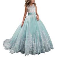 ingrosso fiore aqua verde-Pizzo Aqua Green Flower Girl Abiti per bambini Prima Comunione Dress Ball Gown Lace Pageant Gowns abiti per le ragazze 086