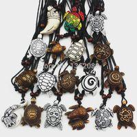 Wholesale Turtle Necklace Bone - Lot 18pcs Fashion Imitation Bone Carving Mix Lucky Surfer Sea Turtles Charm Pendants Adjustable Cord Necklace Amulet Gift MN345