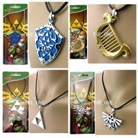 Wholesale Shield Pendants - the legend of zelda necklace black wax cord lyra zelda shield necklace legend of zelda triforce necklace bird pendant necklace in stock