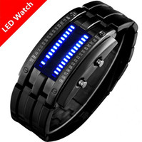 Wholesale Sport Watch Binary - Deluxe Luxury Waterproof LED Electronic Men Women Stainless Steel Wristwatches Blue Binary led Displayer Luminous Sports Watches TY1056