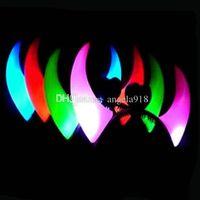 Wholesale Light Up Horn Headbands - 2015 New Halloween Christmas LED Toys Flash light plastic horn Hair Clip HeadBand Light up toy emitting Horn Hairpin E050