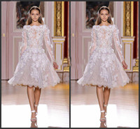 Zuhair Murad Hautecouture White Lace Sheer Long Sleeves Short Abendkleider im Libanon knielangen Cocktailparty-Kleider