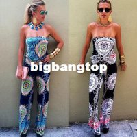 Wholesale Super Sexy Rompers - 1510 Summer Style two piece or Bodysuit 2015 Hot Chest wrapped super sexy halter wide leg trousers print rompers womens jumpsuit