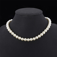 Wholesale pearl necklaces - High Quality Synthetic Pearl Necklace for Women New Trendy Resizable Luxury White Black Beaded Necklace