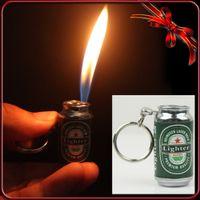 Wholesale Keyring Lighter - FIREBIRD New Novelty Beer Can Keyring Metal Inflatable Butane Gas Cigarette cigarettes Lighter Collectable