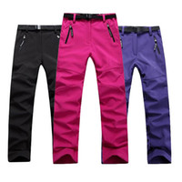 Wholesale Black Windbreak - Wholesale-Camping Pants Fishing Women Hiking Pants Outdoor Trousers SoftShell Fleece Warm Wear-Resistant Waterproof Windbreak Skiing Pants