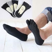 chaussettes en coton achat en gros de-Gros-Brand New Mens Solide Taille Basse Coupe Mocassins Anti-dérapant Coton Chaussettes Respirant Cinq Doigt Slipper Toe Chaussettes No Show Invisible