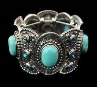 etnik gümüş toptan satış-Moda Bağbozumu Gümüş Oyma Çiçek Turkuaz Gem Taş Etnik Boho Bildirimi Elastik Bilezik