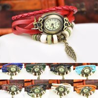 Vintage Leaf Watch Genuine Leather Hand Knit Relógios pulseira Relógios de pulso Pendente Leaf Mulheres Ellipse Luxury Dial Dress Watch